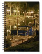 Narbonne France Canal De La Robine At Night Dsc01657  Spiral Notebook