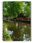 Narrowboats Moored On The Wey Navigation In Surrey Spiral Notebook