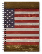 United States Of America National Flag On Wood Spiral Notebook