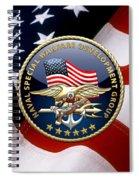 Naval Special Warfare Development Group - D E V G R U - Emblem Over U. S. Flag Spiral Notebook