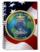 Naval Special Warfare Group Four - N S W G-4 - Over U. S. Flag Spiral Notebook