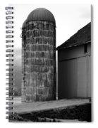 Near Infrared Old Michigan Barn With Silos Bw Usa Spiral Notebook
