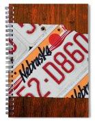 Nebraska License Plate Map Art Spiral Notebook