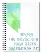 Nevada - The Silver State - Sage State - Sagebrush State - Map - State Phrase - Geology Spiral Notebook