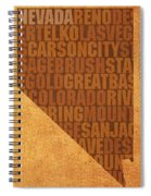 Nevada Word Art State Map On Canvas Spiral Notebook