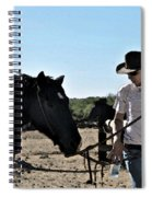 Watercolour Style Cowboy Jim Leading A Horse With Water Spiral Notebook