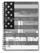 New York City On American Flag Black And White Spiral Notebook