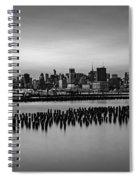 New York City Skyline Stillness Bw Spiral Notebook