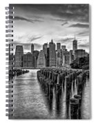 New York City Skyline Sunset Hues Bw Spiral Notebook