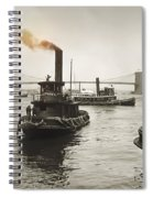 New York Harbor And Brooklyn Bridge  1905 Spiral Notebook