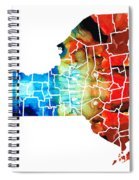 New York - Map By Sharon Cummings Spiral Notebook