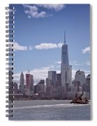 New York Skyline And Boat Spiral Notebook