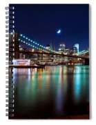 New York Skyline And Brooklyn Bridge With Crescent Moon Rising Spiral Notebook