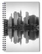 New York Skyline Sunset Bw Spiral Notebook