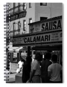 New York City Street Fair - Calamari Sausage - Black And White  Spiral Notebook