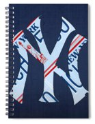 New York Yankees Baseball Team Vintage Logo Recycled Ny License Plate Art Spiral Notebook