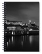 Night At Waterworks In Black And White Spiral Notebook