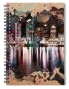 Night City Reflections Watercolor Painting Spiral Notebook