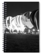 Night Glow Hot Air Balloons Bw Spiral Notebook