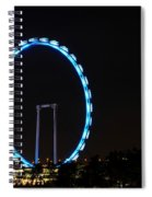 Night Shot Of The Singapore Flyer Ferris Wheel At Marina Bay Spiral Notebook