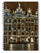 Night Time In Grand Place Spiral Notebook
