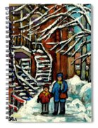 No School Today Out For A Snowy Walk Verdun Winter Winding Staircases Montreal Paintings C Spandau Spiral Notebook