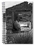 Vintage Boat Framed In Nature Of Minorca Island - Waiting  Spiral Notebook