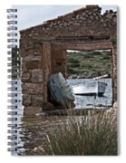 Vintage Boat Framed In Nature Of Minorca Island - Hide And Seek Spiral Notebook