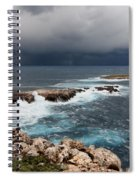 Wild Rocks At North Coast Of Minorca In Middle Of A Wild Sea With Stormy Clouds Spiral Notebook