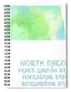 North Dakota - Peace Garden State - Flickertail State -  Roughrider - Map - State Phrase - Geology Spiral Notebook