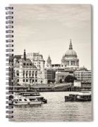 North Side Of The Thames Bw Spiral Notebook