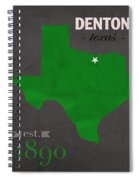 North Texas University Mean Green Denton College Town State Map Poster Series No 078 Spiral Notebook