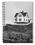 Nubble Lighthouse Cape Neddick Maine Black And White Spiral Notebook
