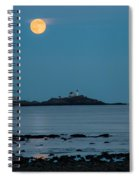 Nubble Lighthouse Under Full Moon Spiral Notebook