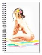 Nude Model Gesture Xvi Tropical Flower Spiral Notebook