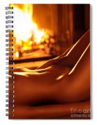 Nude Shiny Woman Body In Front Of Fireplace Spiral Notebook
