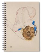 Nude With Blue Stockings Bending Forward Spiral Notebook