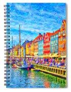 Nyhavn In Denmark Painting Spiral Notebook