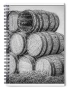 Oak Wine Barrels Black And White Spiral Notebook