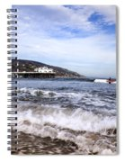 Ocean Waves Blue Sky And A Surfer At Malibu Beach Pier Spiral Notebook