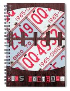 Ohio State Buckeyes Football Recycled License Plate Art Spiral Notebook