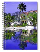 Oil Painting - Cottages And Lagoon Water Spiral Notebook