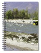 Oil Painting - Front Part Of School Bus In A Mountain Stream On The Outskirts Of Srinagar Spiral Notebook