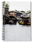 Oil Painting - Multiple Families Relaxing In Multiple Shikaras In The Dal Lake Spiral Notebook