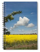 Oilseed Rape Field Against Blue Sky Spiral Notebook