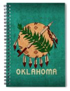 Oklahoma State Flag Art On Worn Canvas Spiral Notebook