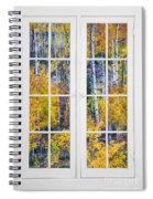 Old 16 Pane White Window Colorful Fall Aspen View  Spiral Notebook