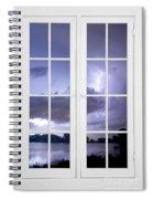 Old 16 Pane White Window Stormy Lightning Lake View Spiral Notebook
