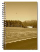 Old Barn And Farm Field In Sepia Spiral Notebook