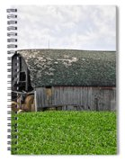 Old Barn And Round Bales Spiral Notebook